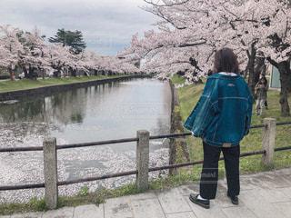 湖の前に立っている人の写真・画像素材[2426050]