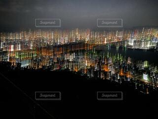 風景,空,建物,夜,夜景,屋外,綺麗,景色,港,ブレ感