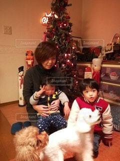 クリスマスツリーの前でおばあちゃんとの写真・画像素材[2437853]