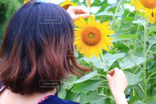 花を持っている人の写真・画像素材[3498403]