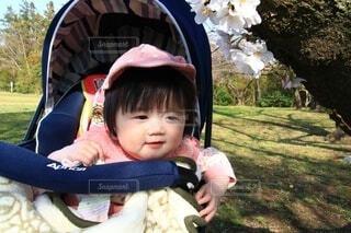 小さな子供が草の中に座っているの写真・画像素材[4275691]
