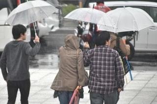 雨の中帰路を急ぐパラソル⛱の写真・画像素材[2635813]