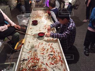 お祭りと弟と金魚すくいの写真・画像素材[2461720]
