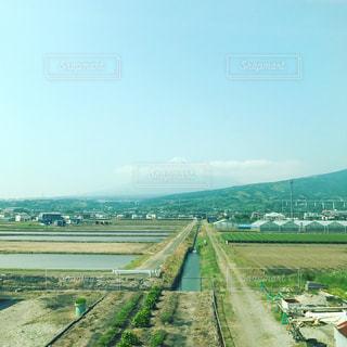 空,富士山,雲,青空,山,景色,道,田園,フィルム,稜線,のどか,フィルム写真,フィルムフォト