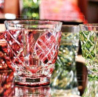 赤,ガラス,グラス,フィルム,模様,切子,クリスタル,フィルム写真,キレイ,細工,薩摩切子,フィルムフォト