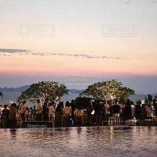 海,夕日,パーティ,屋外,プール,樹木,ホテル,フィルム,フィルム写真,フィルムフォト