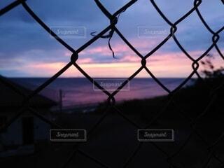 フェンス越しのサンセットの写真・画像素材[4743506]
