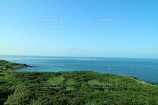 水の体の隣の丘の中腹のクローズアップの写真・画像素材[3557900]