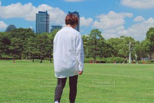 公園,芝生,屋外,青空,フィルム,フィルム写真,白シャツ,フィルムフォト