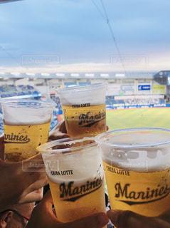 空,グラス,ビール,野球,乾杯,ドリンク,観戦,マリンスタジアム