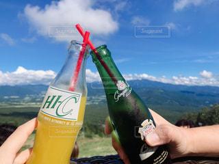 自然,絶景,ジュース,青空,テラス,グラス,乾杯,ドリンク,オレンジジュース,ジンジャエール