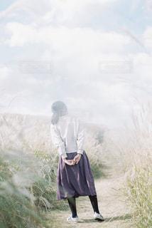 風景,空,秋,ススキ,人,フィルム,和歌山,フィルム写真,生石高原,フィルムフォト,女の子とわたし