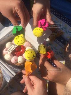 楽しい,笑顔,誕生日,乾杯,happy,ハッピー,友達,ハッピーバースデー,グッズ,ニコちゃん,友人,4人,カンパイ