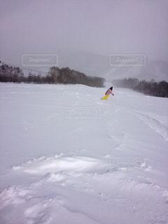 雪に覆われた野原をスノーボードに乗っている男の写真・画像素材[2959092]