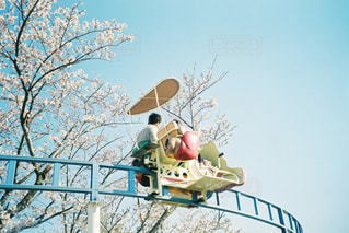 自然,空,春,桜,屋外,親子,青空,夕暮れ,樹木,遊園地,人々,フィルム,思い出,桜の花,フィルム写真,フィルムフォト