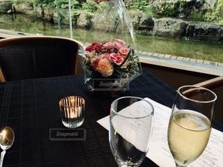 花,食事,テーブル,ワイン,グラス,乾杯,休日,ドリンク,白ワイン,ロウソク