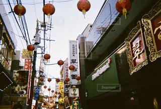 風景,空,夕暮れ,提灯,フィルム,中華街,フィルム写真,エモい,フィルムフォト