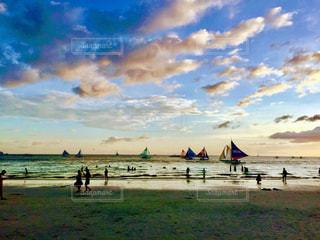風景,ビーチ,夕暮れ,水面,旅行,フィリピン