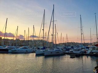 風景,夕暮れ,水面,旅行,ヨット,ヨットハーバー,マルタ