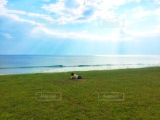 芝生に転がる子どもと海と日差しの写真・画像素材[2625375]