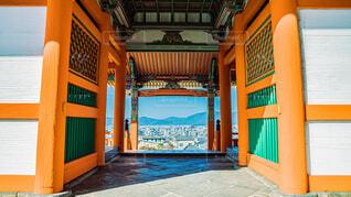 清水寺での京都の街並みの写真・画像素材[4008516]