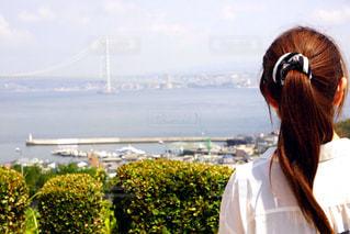 明石海峡大橋を眺める姿の写真・画像素材[2498760]