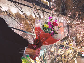 男性,花,夜,花束,プレゼント,イルミネーション,ロマンチック,明るい,プロポーズ,告白,スーツ,アンバサダー,グランフロント大阪,シャンパンゴールド