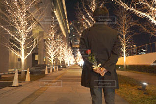 男性,恋人,1人,風景,花,屋外,バラ,プレゼント,イルミネーション,人,ロマンチック,明るい,待ち合わせ,プロポーズ,告白,アンバサダー,グランフロント大阪,シャンパンゴールド