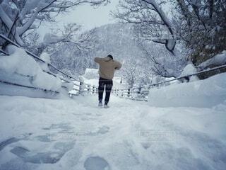 雪の中を歩く男子の写真・画像素材[4173226]