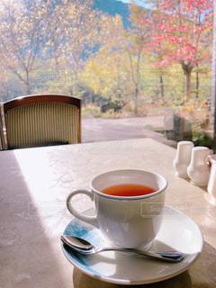 窓辺に映る紅葉と 至福の紅茶の写真・画像素材[2678819]