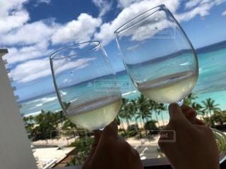 風景,屋外,ビーチ,グラス,乾杯,ドリンク