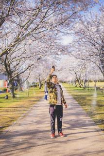 男性,友だち,1人,風景,公園,花,カメラ,桜,花見,樹木,人物,人,iphone,友達,お散歩
