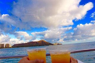 空,グラス,ハワイ,乾杯,リゾート,ドリンク,ダイヤモンドヘッド