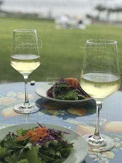 自然,風景,海,空,ランチ,芝生,ワイン,グラス,乾杯,ドリンク