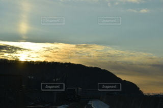 風景,空,太陽,朝日,雲,山,光