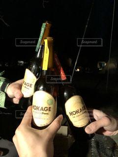 グラス,ビール,キャンプ,乾杯,ドリンク,草木
