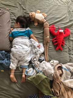 ベッドの上で寝ている人々のグループの写真・画像素材[2550244]