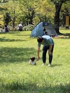 芝生の上に立っている男の写真・画像素材[3086230]
