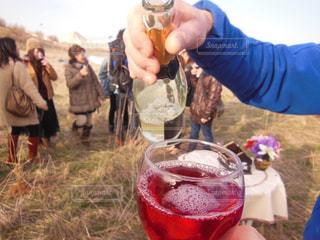 屋外,グラス,乾杯,ドリンク