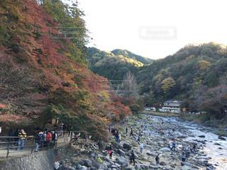 山の脇を歩く人々のグループの写真・画像素材[2540334]