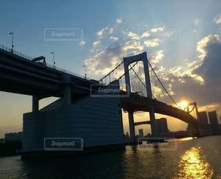 恋人,風景,海,空,東京,太陽,水面,光,レインボーブリッジ,デート,クルーズ,船上,水上バス