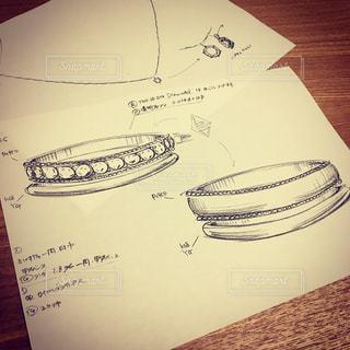 結婚指輪のデザイン画の写真・画像素材[1085624]