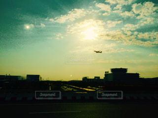空,夕日,飛行機