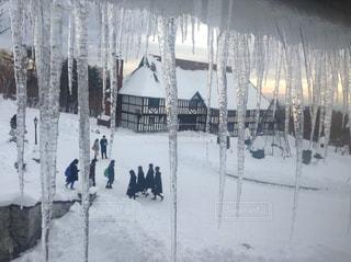 子ども,友だち,冬,屋外,雪景色,山,氷,雪国,氷柱