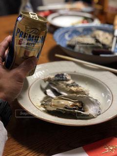 冬,グラス,ビール,牡蠣,乾杯,ご馳走,ドリンク,自宅
