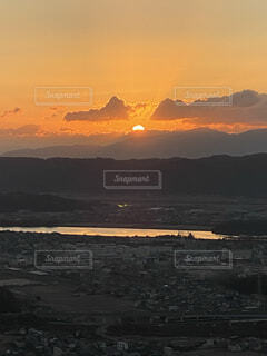 空,朝日,雲,晴れ,正月,お正月,日の出,新年,初日の出,岡山県,東区,芥子山,備前富士