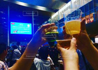 夏,夜,お酒,屋外,グラス,ビール,乾杯,ドリンク
