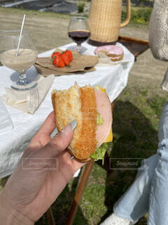 ピクニックでサンドウィッチの写真・画像素材[4403197]