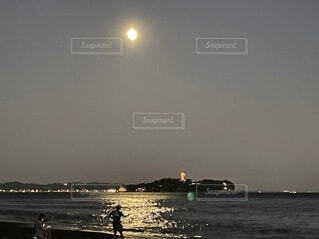 自然,風景,海,空,屋外,湖,ビーチ,水面,月,灯台,月光