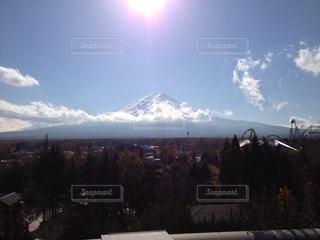 空,富士山,太陽,雲,光